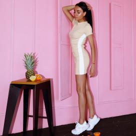 Изображение Платье с белой полоской бежевое She Black Limit
