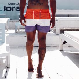 Изображение Плавки мужские оранж-белый-фиолет Black Limit