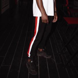 Изображение Спортивные штаны с красно-белыми лампасами черные  Black Limit
