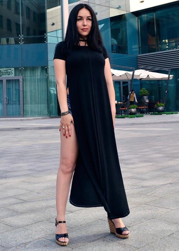Изображение Туника миди с разрезами по бокам черная MARO