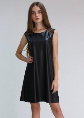 Изображение Платье-трапеция с кружевом из масло-кожи черное MARO