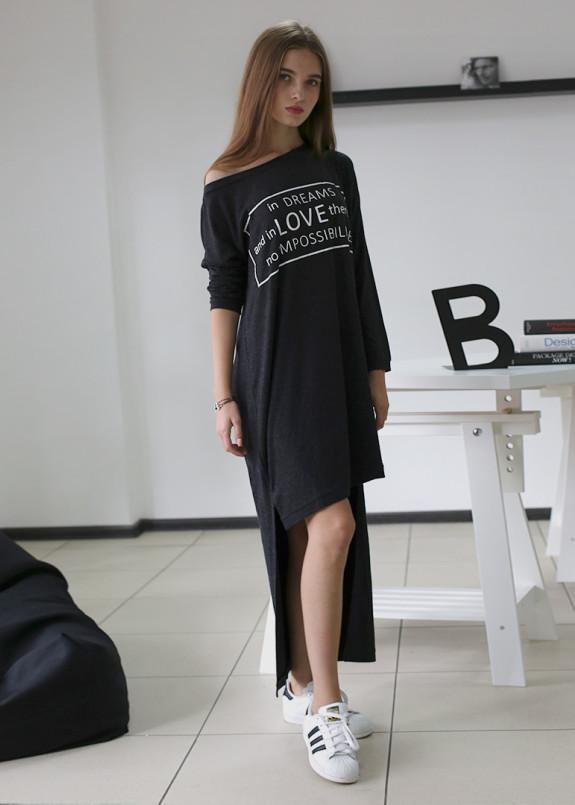 Изображение Платье асимметричное с принтом серое MARO