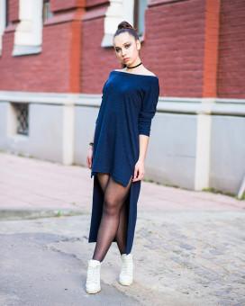 Изображение Платье асимметричное из тонкой ангоры синее MARO