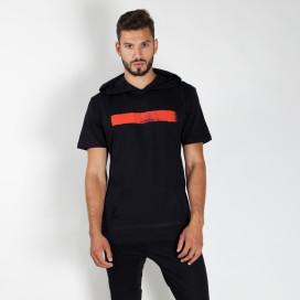 Изображение Футболка мужская с капюшоном и красной краской черная MFStore