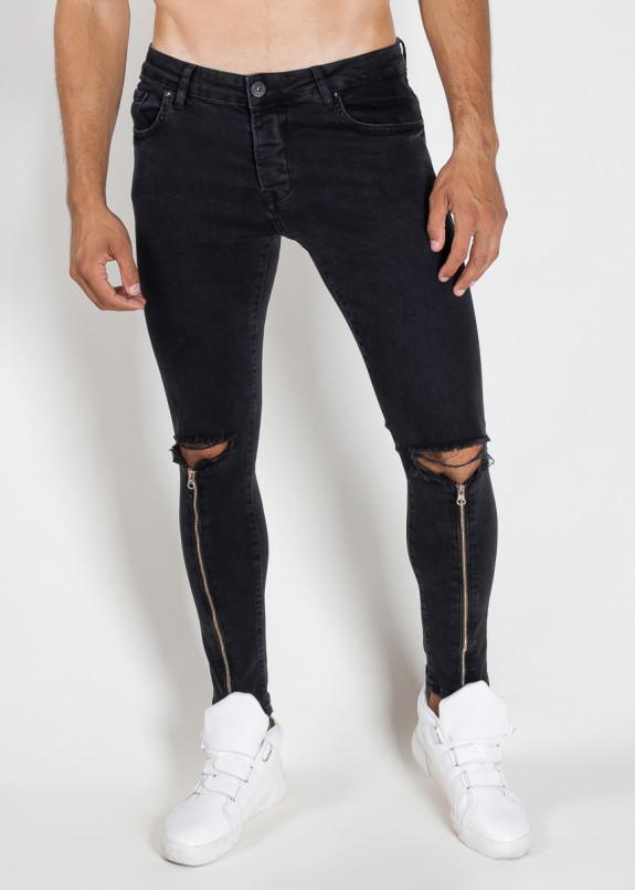Изображение Джинсы мужские с молнией от колена черные MFStore