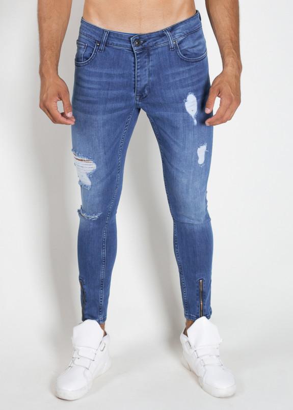 Изображение Джинсы мужские с дырками и молниями синие MFStore