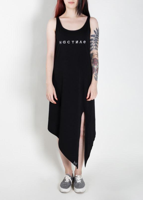 Изображение Платье-майка с асимметричным низом черное На Стиле MFS BRAND