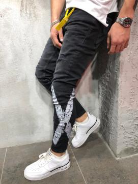 Изображение Джинсы мужские краской черные X MFStore