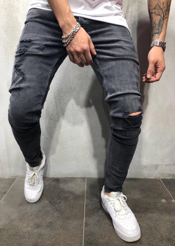 Изображение Джинсы мужские с разрезами черные MFStore