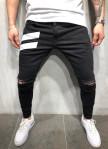 Изображение Джинсы мужские с разрезами и белыми полосками черные MFStore