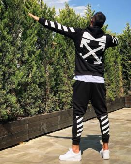 Изображение Костюм мужской с белыми полосками на рукавах черный MFStore