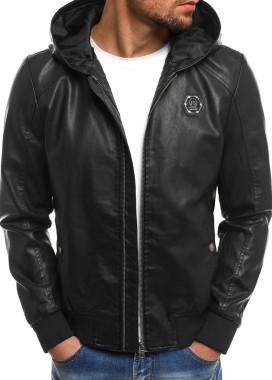Изображение Куртка из эко-кожи с капюшоном и лого черная MFSTORE