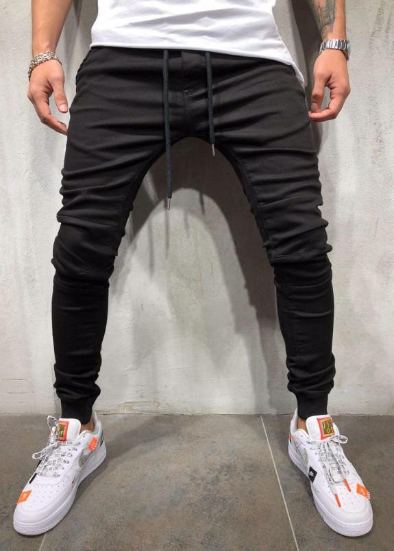 Изображение Черные джинсы  с вставками на коленях MFSTORE
