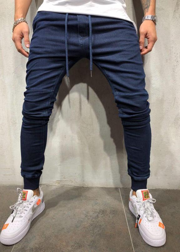 Изображение Синие джинсы с вставками на коленях MFSTORE