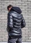 Изображение Стеганая утепленная куртка с капюшоном чёрного цвета MFSTORE