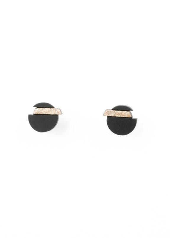 Изображение Сережки-гвоздики  круг черный с золотом NEBULA 7