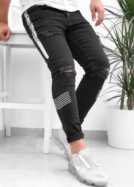 Изображение Джинсы с дырками на коленях и белой вставкой Mfstore
