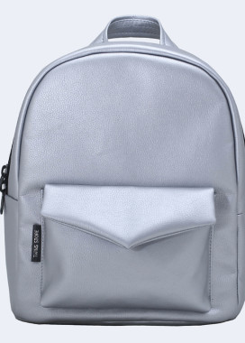 Изображение Рюкзак женский с накладным карманом серебряный Twins Store