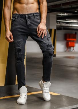 Изображение Джинсы с потертостями и вставками на коленях Mfstore