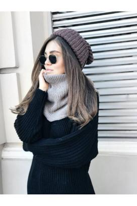 Изображение Шарф хомут женский вязаный светло-коричневый BLACK LIMIT