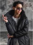 Изображение Пуховик чёрный женский с высоким воротником