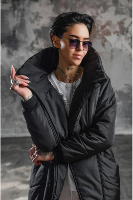 Изображение Пуховик чёрный женский с высоким воротником BLACK LIMIT