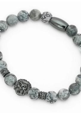 Изображение Браслет из натурального камня серый с темным LEO FASHION