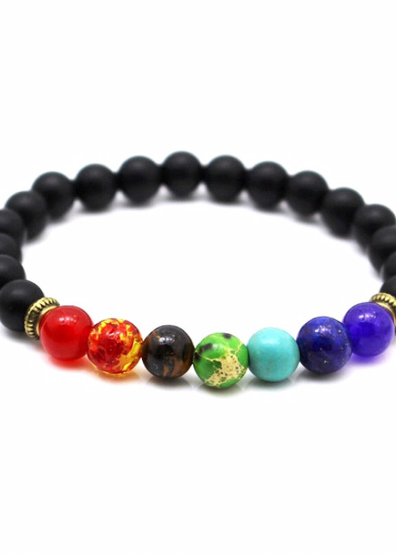 Изображение Браслет черный с разноцветными бусинами Fashion