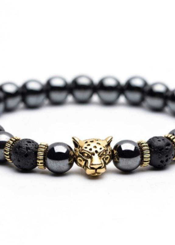 Изображение Браслет из натурального камня серый с золотом leopard Fashion