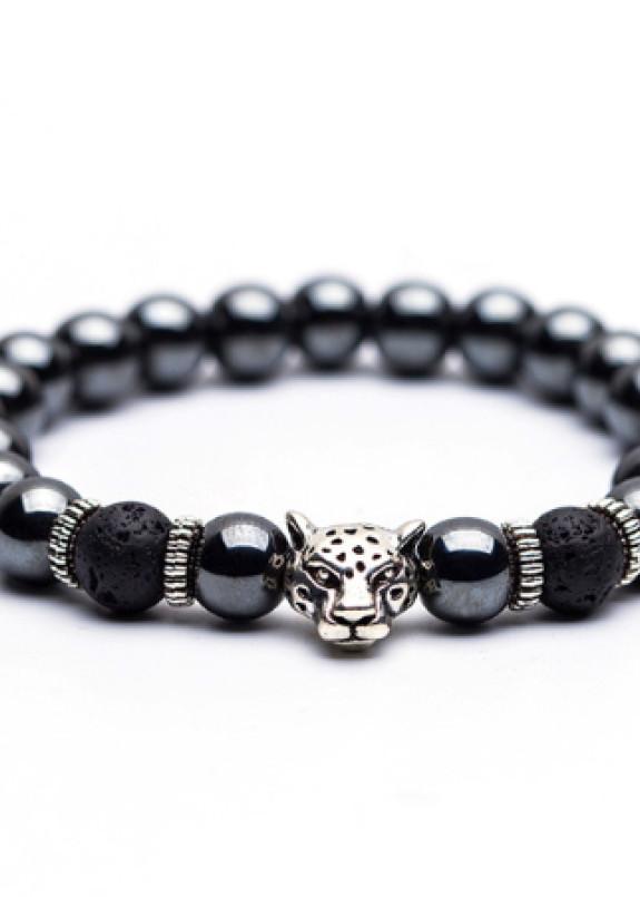 Изображение Браслет из натурального камня серый с серебряным Leopard Fashion