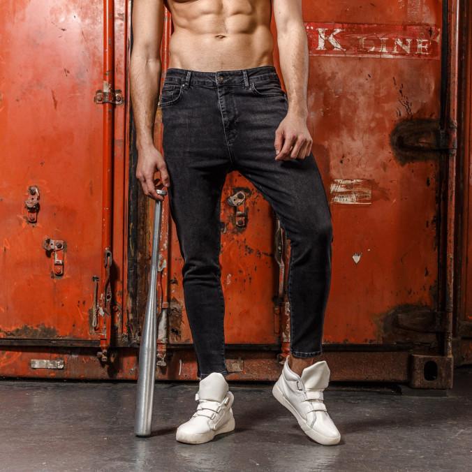 Изображение Черные джинсы с черными лампасами мужские MFSTORE