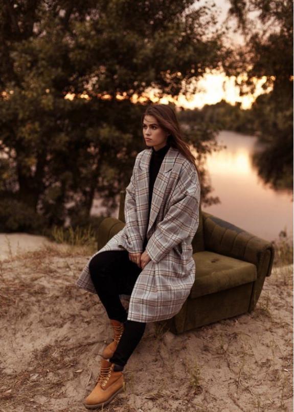 Изображение Пальто женское oversize принт клетка гусиная лапка серо/оранжевое