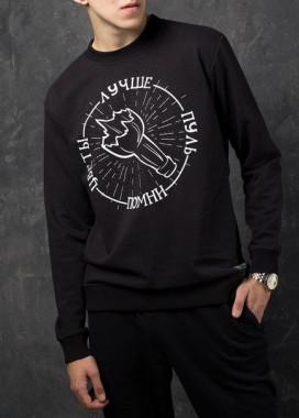Изображение Свитшот мужской чёрный Цветы лучше пуль Tur streetwear