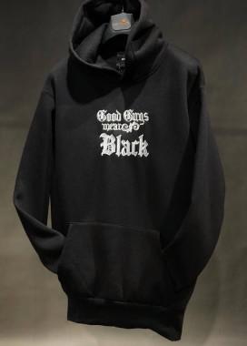 Изображение Худи оверсайз с вышивкой на груди черное MFStore