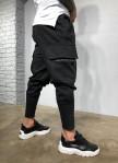 Изображение Джоггеры с манжетами снизу и шнурками черные MFStore