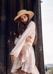 Изображение Платье с воланами и принтом синие-белые сердечки на запах - розовое She Black Limit