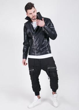 Изображение Куртка кожзам с рифленымы вставками на плечах MFStore