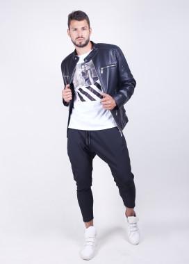 Изображение Куртка мужская кожзам с рифленымы вставками на плечах MFStore