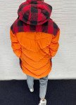 Изображение Парка мужская с клетчатой вставкой снизу и капюшоном оранжевая MFStore