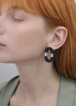 Изображение Серьги в виде двух полукругов с жемчужиной