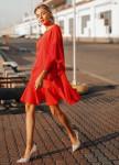 Изображение Платье красное с воланами Street style