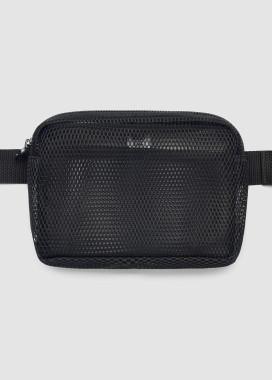Изображение Прозрачная черная сумка на пояс бананка квадратной формы
