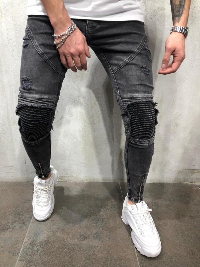 Изображение Джинсы с рифлеными вставками на коленях Mfstore