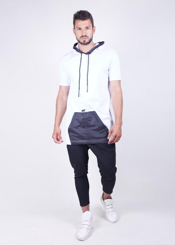 Изображение Мужская удлиненная белая безрукавка с карманом MFStore