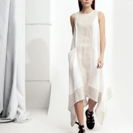 Изображение Льняное белое платье асимметричного кроя Lut