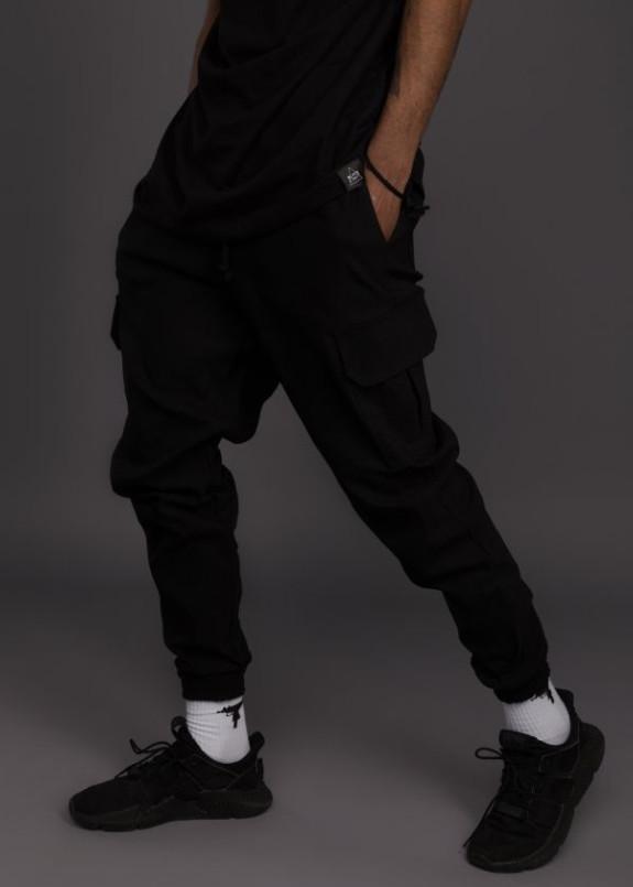 Изображение Штаны мужские джоггеры с накладными карманами черные