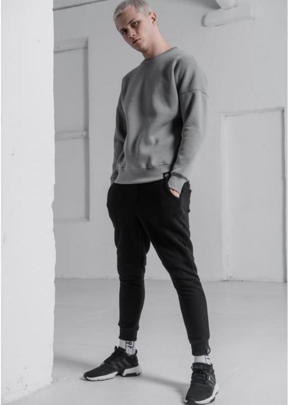 Изображение Свитшот мужской OVERSIZE на флисе серый
