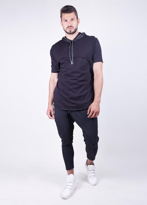 Изображение Черная мужская футболка с дизайнерской молнией MFStore