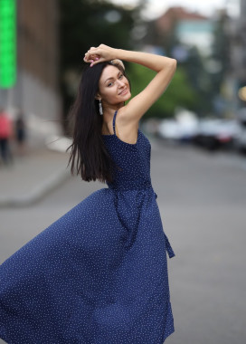 Изображение Платье синее космос