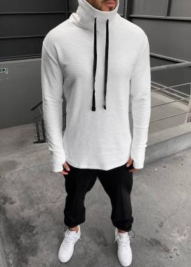 Изображение Лонгслив дизайнерский с высоким горлом и шнурками белый MFStore
